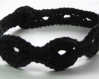 Boho Chic Headband, Black Crochet Headband, Soft Cotton Head Band