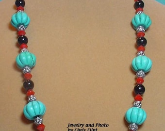 Gorgeous Turquoise 24 Inch beaded necklace and Earrings set