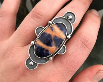 Sodalite and Sterling SIlver Statement Ring