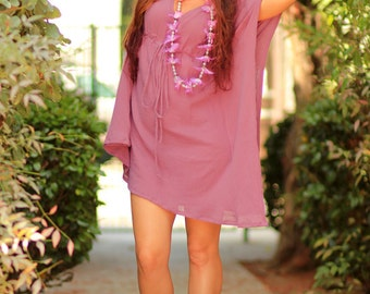Mini Caftan Dress - Beach Cover Up Kaftan in Mauve Cotton Gauze - 20 Colors