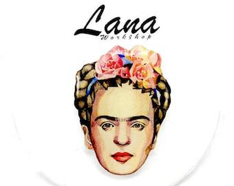 Frida Kahlo brooch Frida Kahlo jewelry, Frida brooch, Frida clay, self-portrait Frida , Mexican artist, Frida Kahlo de Rivera