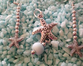 Starfish ear rings and pendant trio