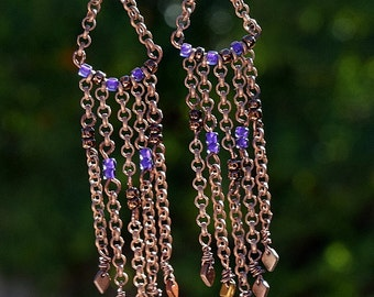 Antique Copper, Wire Wrapped, Picasso Seed Beads Sexy Chandelier Dangle Earrings, Dragon Scale Beads, Handmade Ear Wires,Chain Drop Earrings