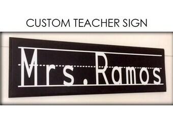 Personalized Teacher Chalkboard Sign, Cursive Sign, Handwritten Sign, Teacher Gift, Vintage Sign, Classroom Decor, Old School Classroom Sign