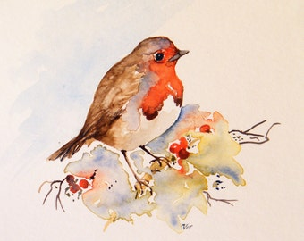 Robin redbreast original watercolor painting, 6 x 6 inches