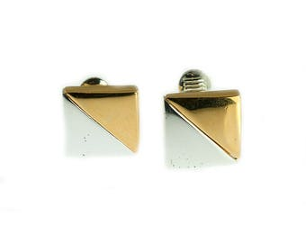 Two Tone Square Earclips