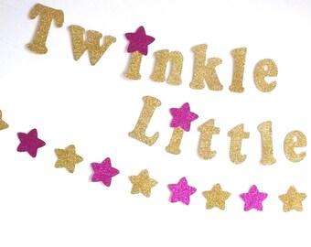 Twinkle, Twinkle Little Star Gold Glitter Banner, Stars Garlands, Stars Confetti, Birthday Decor, Hot Pink and Gold Birthday, First Birthday