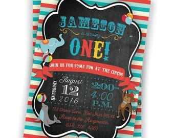 Circus 1st Birthday Invitation 5x7 Custom Digital Download Printable Carnival Party Boy