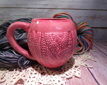 Pink cabled sweater mug