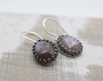 Chocolate Moonstone Earrings - Moonstone Jewelry - Dangle and Drop Earrings - Gift For Her - Brown