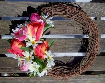 Grapevine Wreath, 14-inch.  Spring wreath.  Tulips, Crocus, Daisies.  Red, orange, pink, white.  Front door wreath, wall decor.