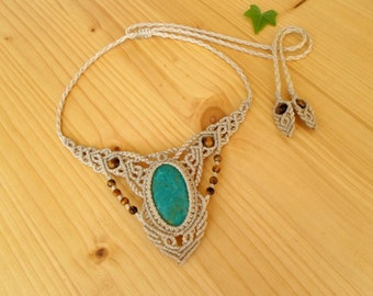 Chrysocolla macrame necklace, macrame stone, gemstone necklace, chrysocolla jewelry, tribal necklace, macrame jewelry, boho necklace