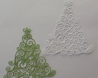 Swirl Christmas Tree Die Cut, Christmas Tree Cutout