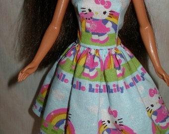 """Handmade  Regular 11.5"""", Tall, Curvy or Petite fashion doll clothes - blue and pink kitty dress"""