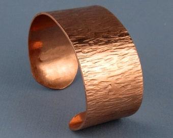 Wide Textured Copper Cuff Bracelet