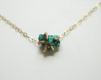 Turquoise Necklace, 14K Gold, Turquoise Gold Necklace, Gold Necklace, Turquoise Jewelry, Gemstone Necklace, December Birthstone