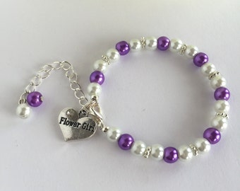 Purple Flower Girl Bracelet, Gifts For Flower Girl, Girls Jewelry, Will You Be My Flower Girl, Little Girls Jewelry, Ring Bearer Gift