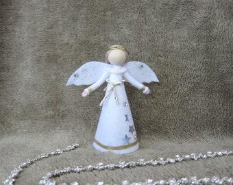 Angel Tree Topper, White Christmas Angel, Felt Angel Doll, Angel Tree Ornament, Handmade Christmas Doll, Guardian Angel, Kindness Elf