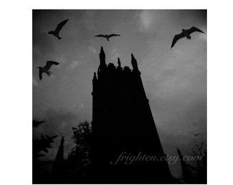 Gothic Photography Print, Halloween Decor, Black and Gray Church Art, Holga Photography, Moody Wall Art, frighten