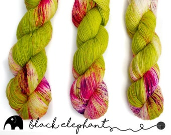Echinopsis hand dyed sock weight yarn  superwash merino contemporary single ply yarn speckled yarn green pink purple 100g