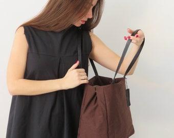 Ladies Shoulder Purse, Brown Shoulder Tote Bag, Designer Handbag, Evening Bag For Women, Fabric Bag, Minimalist Teacher Bag, Bohemian Bag