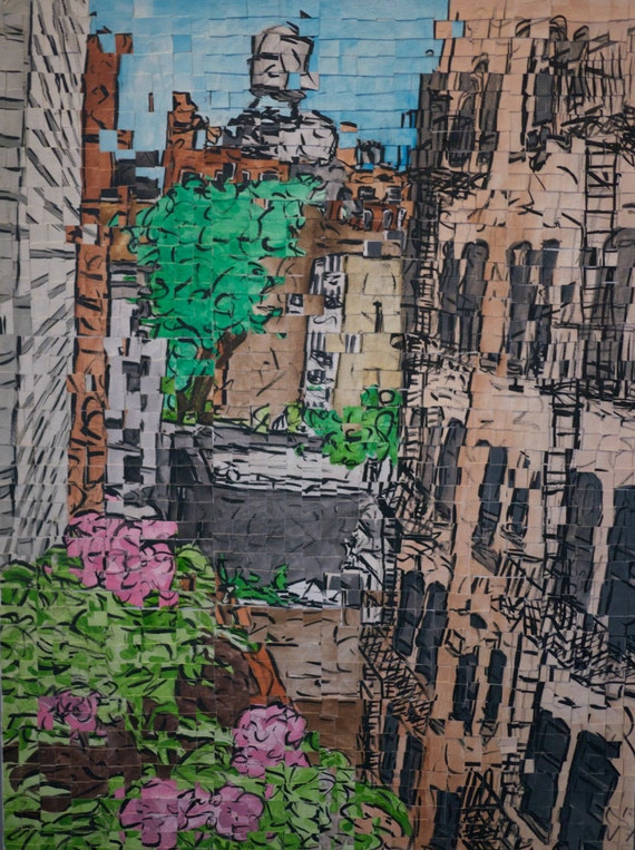 "New York City - Greenwich Village -Bleecker Street - Architectural Art: 18""x24"" Original Painting"