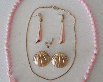 1980's Pink and Gold Tone Costume Jewelry