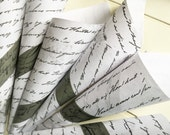 10 Paper Cones Wedding Favor Pew Marker Flower Bouquet Holder Treat Bags ~ Faded Black Script on Aged Paper Petal or Confetti Tosser Cone