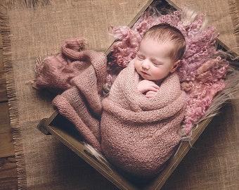Felted Curls / Newborn Wrap / basket stuffer / wool fluff / newborn prop / dusky pink with beige/peach tones / Baby Wrap