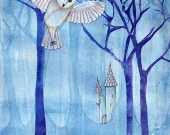 The Night in the Woods: Art print of original gelatin monoprint
