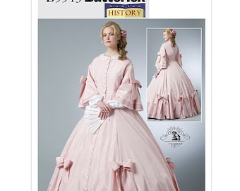 OOP Civil War Dress Costume -1860's -Sizes: 6 -8 -10 -12 or 14 -16 -18 -20, Butterick B5543 Sewing Pattern - Misses Costumes - UNCUT