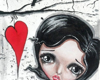 Big Eye Art Mixed Media Grunge Print Signed Reproduction Sing Me A Song by Lizzy Love [IMG#107]