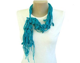 PDF Tutorial  Pattern... Cotton Crochet Lariat Necklace/Scarf -5, Free Form Crochet