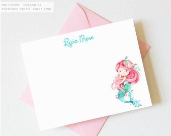 Mermaid Thank You Cards | Mermaid Thank You Notes | Mermaid Birthday Thank You Cards