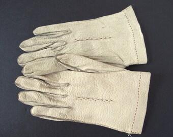 Vintage Grayish Leather Dress Length Gloves, Size 5