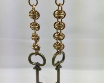 Chainmail Earrings with matching key charms