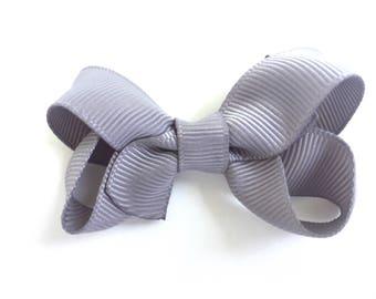 Gray hair bow - hair bow, hair bows, bows, baby bows, hair bows for girls, baby hair bows, pigtail bows, toddler bows, girls bows, hairbows