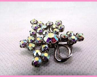 Vintage rhinestone brooch iridescent vintage jewelry France vintagefr for her Christmas gift idea