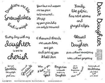 Dear Daughter Fabric Panel