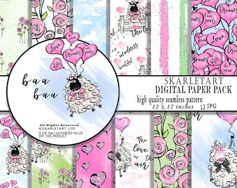 Valentine Paper Pack Cute Paper Nursery Room Decor Planner Clipart Cute Sheep Planer Stickers Pastel colors Love Baloons glitter Backgraund