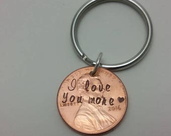 Hand Stamped Penny Keychain Anniversary Gift