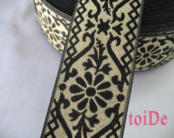 Vintage Wide Gold and Black Flower Ribbon - Embroidered