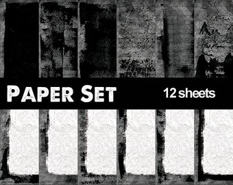 Grunge Inked Digital Paper Set, Dark Printable pages for letter, Backgrounds and frames, invitations scrapbook, Sheets Ready to print