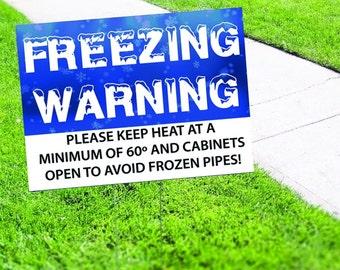 Freezing Warning Yard Sign Corrugated Plastic with Free Stakes