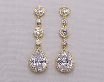 Gold Bridal earrings, cubic zirconia earrings, gold wedding jewelry, bridal jewelry, bridal earrings, Adeline Long Gold Earrings