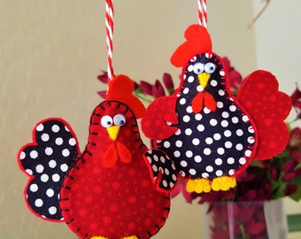 TWO Chicken ornaments-Easter Chicken decor-Spotted Chicken decor-Polka Dot felt and fabric Chicken tree-Country Farm Christmas decor