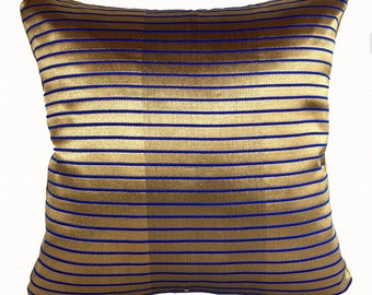 Gold and blue  striped. Banaras silk decorative cushion cover. cobalt blue  throw pillow.  Gold wedding  decor. 18inch  CUSTOM made