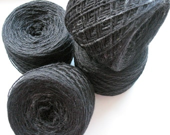 Wool Yarn Dark Gray 400 gr 13.9oz skein / 2 ply, each skein contains approximately 1500-1700 yds