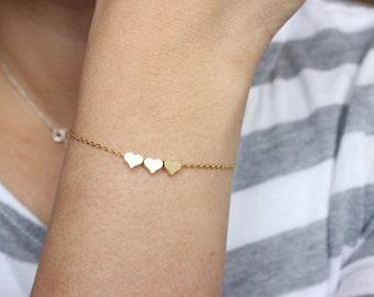 Gold heart bracelet, tiny heart bracelet, sister gift, gift for best friend, rose gold dainty bracelet, bridesmaid gift, minimalist,