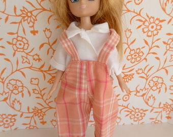 1980s VINTAGE DOLL DUNGAREES and Blouse for 7in/16cm dolls like Alexanderkins, Amanda Jane, Lottie, Mini American Girl